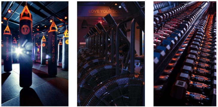 Images of the facilities including boxing bags, spinning machines, and free weights